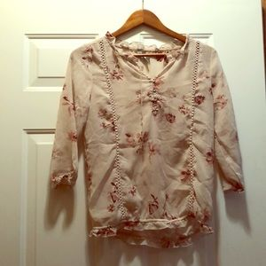 Maurice's pink floral blouse button up